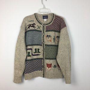 VTG Woolrich Holiday Hunter Wool Cardigan. L
